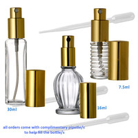 3 GLASS PERFUME ATOMIZERS for Fragrance - Gold or Silver Tall, Mandarin Ribbed Glass Spray Bottles 7.5ml, 16ml, 30 ml Volume Free Shipping