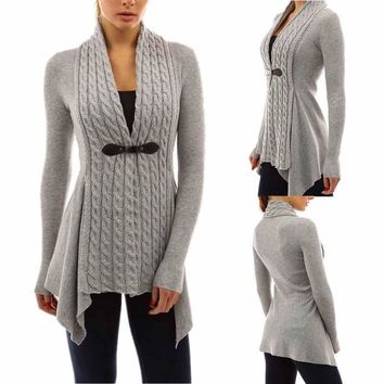 women autumn winter long sleeve knitted sweater cardigan coat casual asymmetric Outwear female overcoat sweater long WDC468