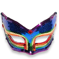 Cat Eye Rainbow Sequin Mask