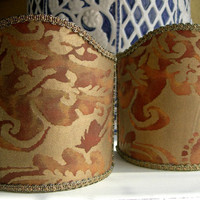 Pair of  Wall Sconce Clip-On Shield Shades Fortuny Fabric Rust & Gold Sevigne Pattern Mini Lampshade - Handmade in Italy
