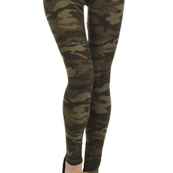 K-One Women's Military Camouflage Army Print Leggings One Size Military Green