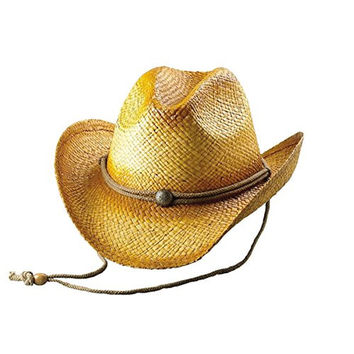 Hats & Caps Shop Outback Tea Stained Raffia Straw Cowboy Hat - By TheTargetBuys | (NATURAL)