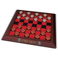 The Official Firehouse Checkers Board Game Set: Unique Firefighter Gift by The Bradford Exchange