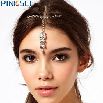 Wedding Bride Hair Clip Silver-Color Crystal Leaf Pendant Forehead Chains Alloy Head Chain Hairwear For Women Jewelry