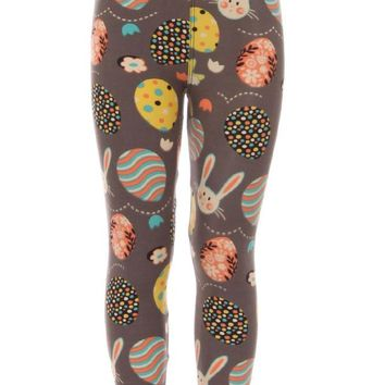 Kid's colorful Easter Egg Rabbits Pattern Printed Leggings