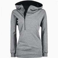 Trench Long Sleeves Zippered Hoodie Coat