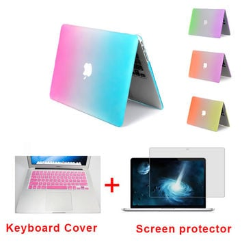 Rainbow Laptop Protector Case For MacBook Air 11 Pro 13 / 15 inch with Retina + Pink w/Keyboard Cover
