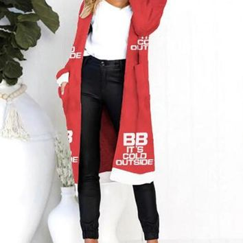 New Red Monogram BB It's Cold Outside Pockets Long Sleeve Chirstmas Casual Cardigan Sweater
