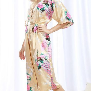 Streetstyle  Casual Floral Printed Kimono Sleeve Nightgown