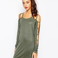 Daisy Street Tunic Dress with Cut Out Arm Detail