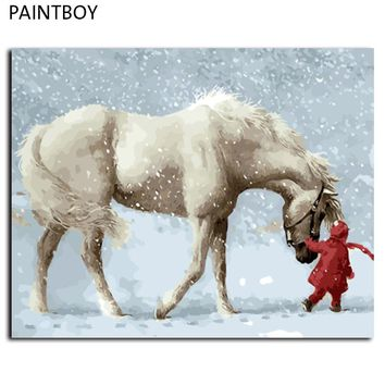 DD DIY Oil Painting Wall Art 40 x 50cm Horse and Girl