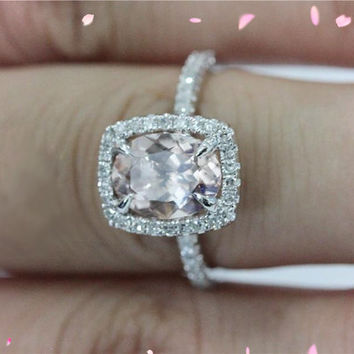 14K Rose Gold 7x9mm VS Morganite Ring Diamonds Wedding Ring Engagement Ring Oval Cut Morganite   Ring Promise Ring