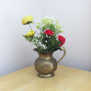 Small vintage brass water pitcher or flower vase with handle - Rustic home decor
