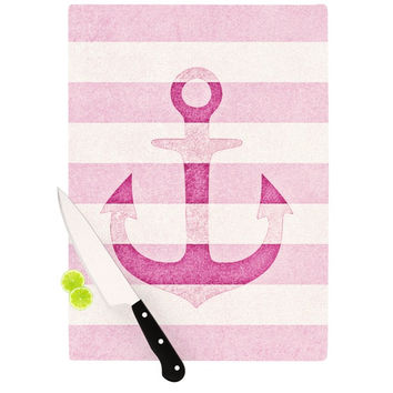 "Monika Strigel ""Stone Vintage Pink Anchor"" Cutting Board"