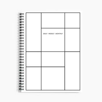 Daily Weekly Monthly Planner in Linework
