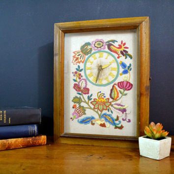 Wall Clock in Wooden Cabinet, Bohemian Fabric, Embroidery, Electric Clock, Retro Piece, Victorian Flowers, Handmade In Working Condition
