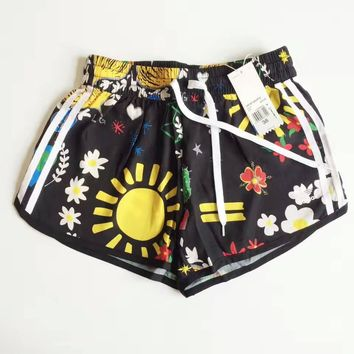 adidas woman summer beach sun flower casual shorts