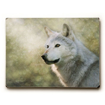 White Wolf by Artist Pauline Fowler Wood Sign