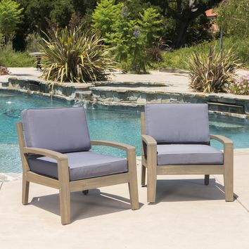 Giselle Outdoor Acacia Wood Club Chairs w/ Water Resistant Cushions