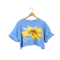 Cut Off Cropped TShirt SUNFLOWER Print Blue Shirt 90s Grunge Tee Blue Crop Top Floral Shirt Flower Print Top Vintage XL Large