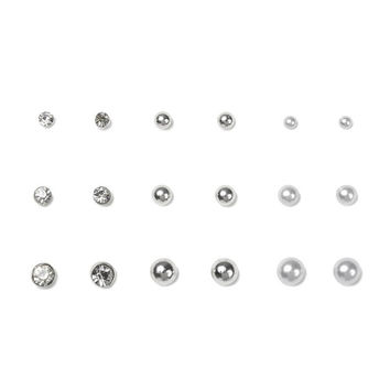 Silver, Pearl & Crystal Stud Earrings Set of 9