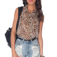 No Arm Done Button Down Shirt in Leopard :: tobi