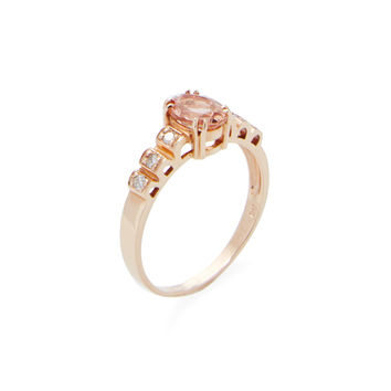 Vianna Brasil Women's Imperial Topaz Oval Station Ring - Orange - Size 7