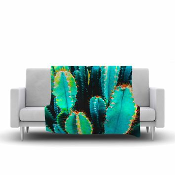 """mmartabc """"Desert Cactus Colorful"""" Blue Green Nature Travel Photography Painting Fleece Throw Blanket"""