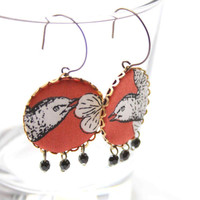 Big Earrings in Brown, Black and White with Birds