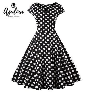 Plus Size Polka Dot Short Sleeve O Neck Dress