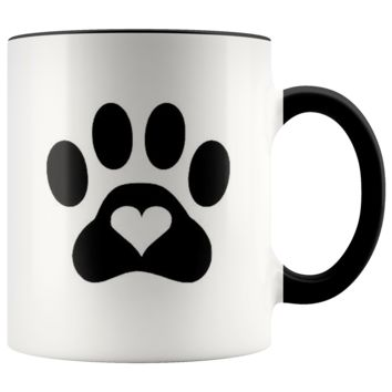 Cat Paw Print With Heart Coffee Mug Coffee Cup - 11oz