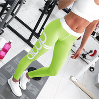 Women Floral Printed Floral Printed Sport Suit Fitness Sportswear Stretch Exercise Yoga  Alphabets Words Trousers Pants _ 10487