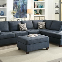 Poundex F6989 2 pc jackson collection dark blue dorris fabric upholstered sectional sofa with reversible chaise lounge