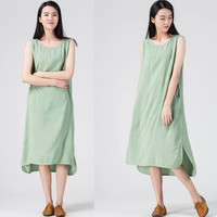 Green Sleeveless Midi Dress