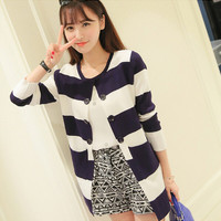 Stripe Long-sleeve Button Knitted Shirt