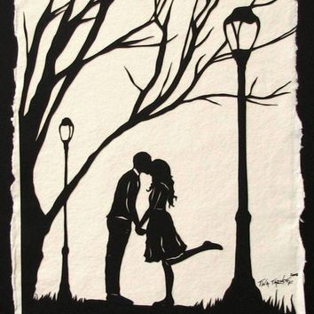 Autumn Kiss Original papercut Art by tinatarnoff on Etsy