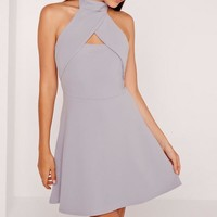 Missguided - Wrap Halter Skater Dress Ice Grey