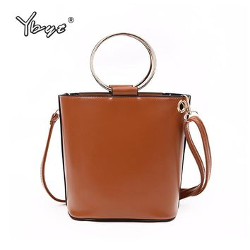 YBYT brand 2018 new vintage round metal handle women bucket bag high quality ladies handbags shoulder messenger crossbody bags