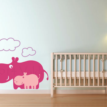 Mamma and baby hippo vinyl wall decal, wall sticker, decal, vinyl decal, sticker, graphic image, home decor, graphic, wall art