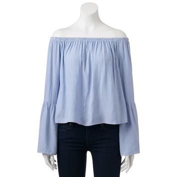 Juniors' Love, Fire Bell Sleeve Off Shoulder Top