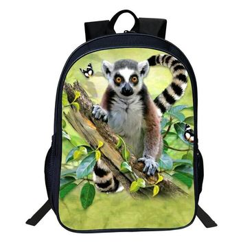 2017 New Style Oxford 16-Inches Printing Animal 3D Raccoon Women Schoolbag Backpacks for Teenage Boys Bag Kids Baby School Bags