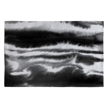Jacqueline Maldonado Ombre Waves Black and White Woven Rug