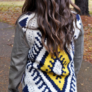 Army Green Jacket with Aztec Sweater Back