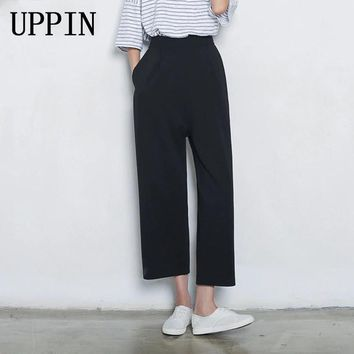UPPIN 2017 Spring Fall Loose Wide Leg Pants Capris Pants Casual Cropped Trousers Calf Length Ankle Length Plus Size Female Black