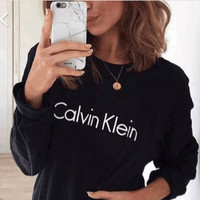 Winter Alphabet Print Round-neck Pullover Hoodies [4956185732]