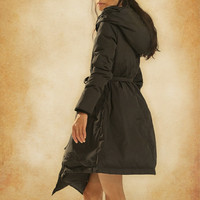 Long Down Coat Jacket in Black, Hooded Coat Jacket, Asymmetrical Coat