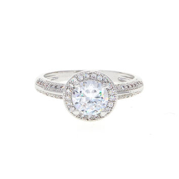 Dear Deer White Gold Plated Classic Cubic Zirconia Engagement Ring