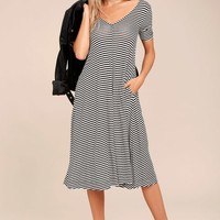 Cheap Monday Disown Black and White Striped Midi Swing Dress