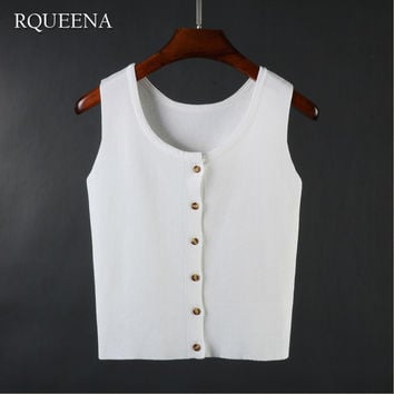 Rqueena 2017 Summer Wear New Pattern Knitting Vest Short Sexy Sleeveless Solid Color Woman Tank Tops