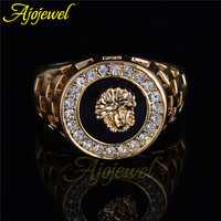 Ajojewel Brand Best Selling High Quality CZ Diamond Superhero Black Men Ring Gold Plated